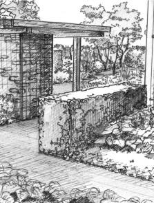 Nowoczesny ogród przy budynku jednorodzinnym